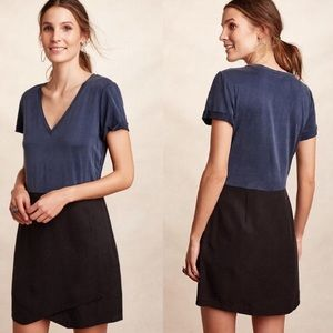 NWT Anthro Dolan Blue & Black Horizon Shirt Dress